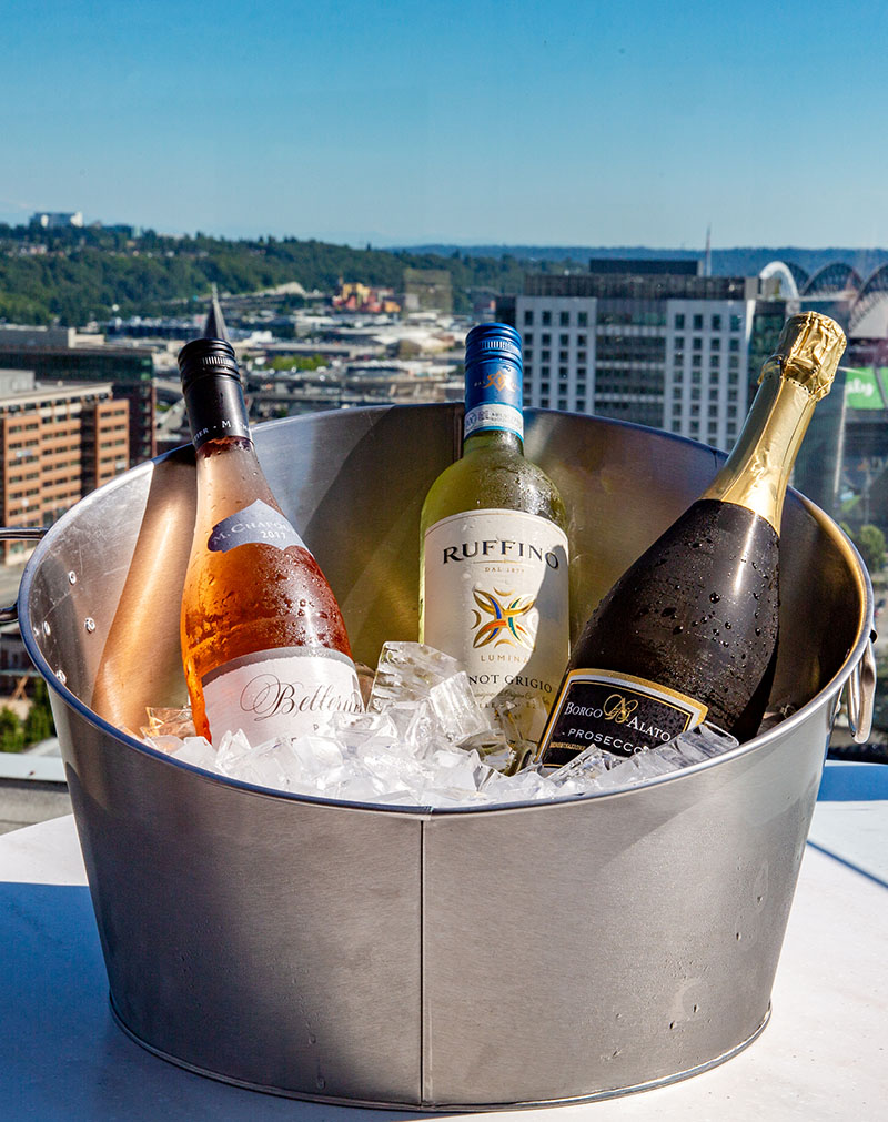 wine bucket with city view